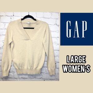 Gap cream long sleeve v-neck top